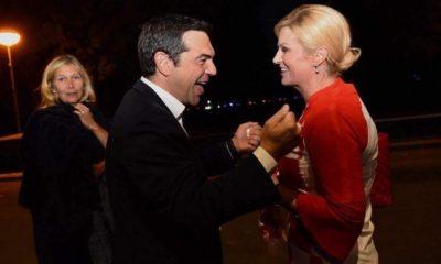 Ο Τσίπρας πανηγύρισε την πρόκριση της Κροατίας με την πρόεδρο Κιτάροβιτς 20