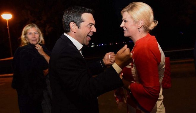 Ο Τσίπρας πανηγύρισε την πρόκριση της Κροατίας με την πρόεδρο Κιτάροβιτς