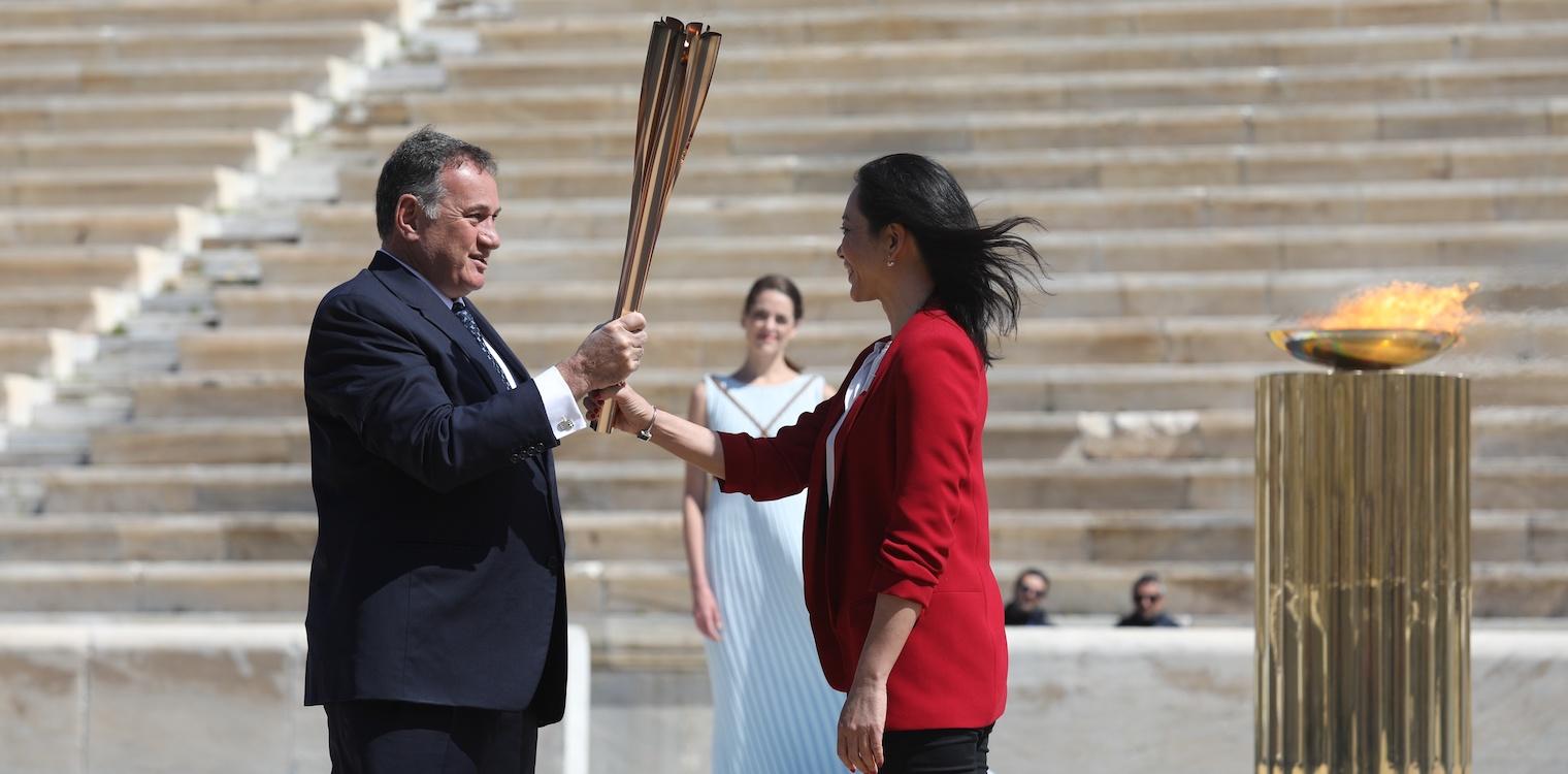 Χωρίς κόσμο η τελετή παράδοσης της Ολυμπιακής φλόγας στην ΟΕ του Τόκιο 2020