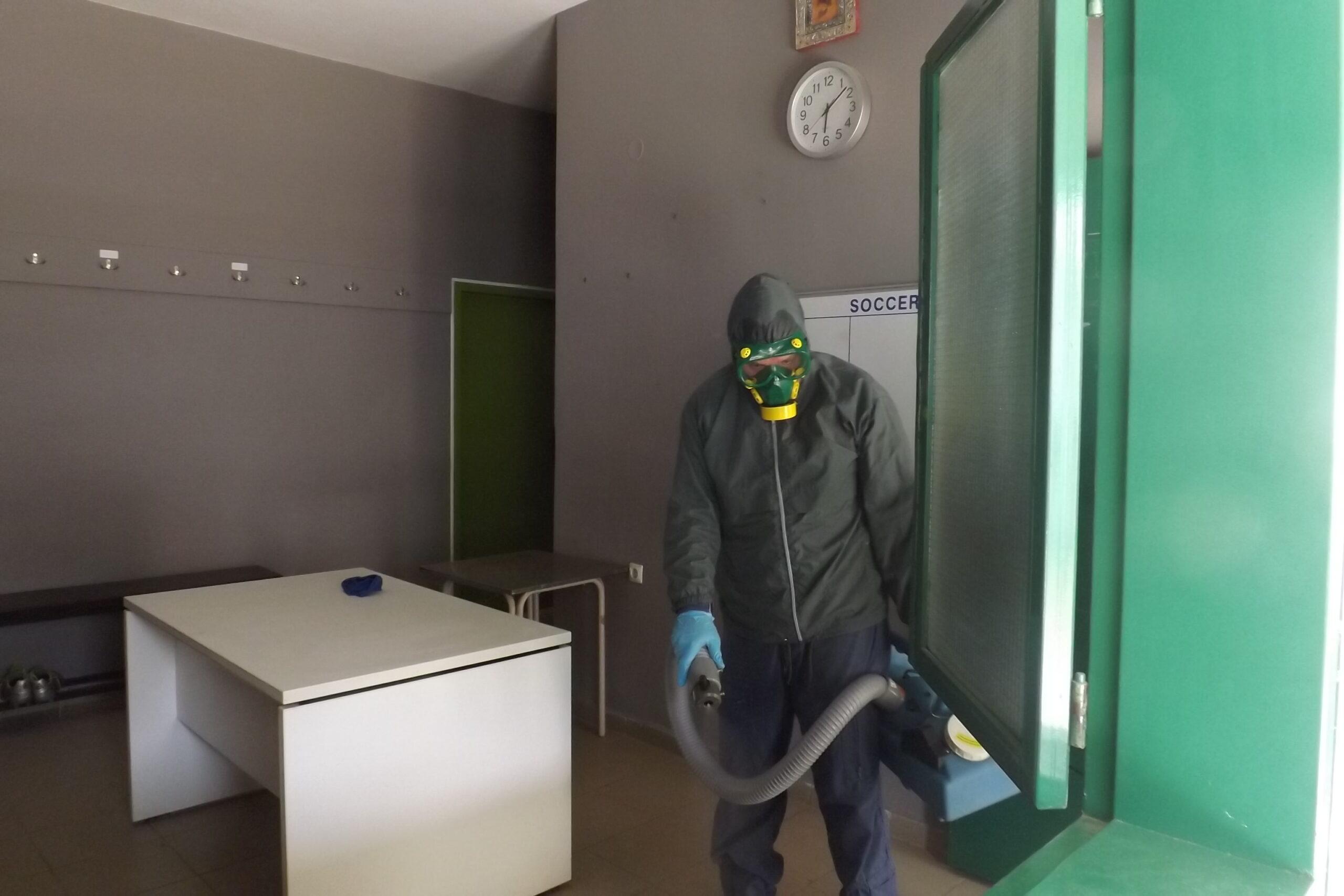 """Μεσσηνιακός: Απολύμανση στο """"Σταύρος Παπαδόπουλος"""" (photos)"""
