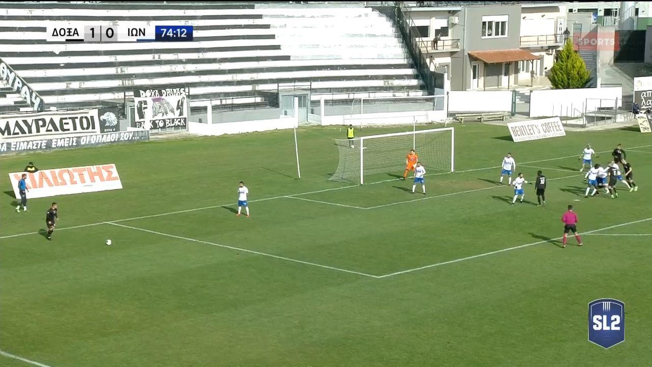 Δόξα Δράμας – Ιωνικός: Το 2-0 ο Αγγελόπουλος με κεφαλιά! (video)