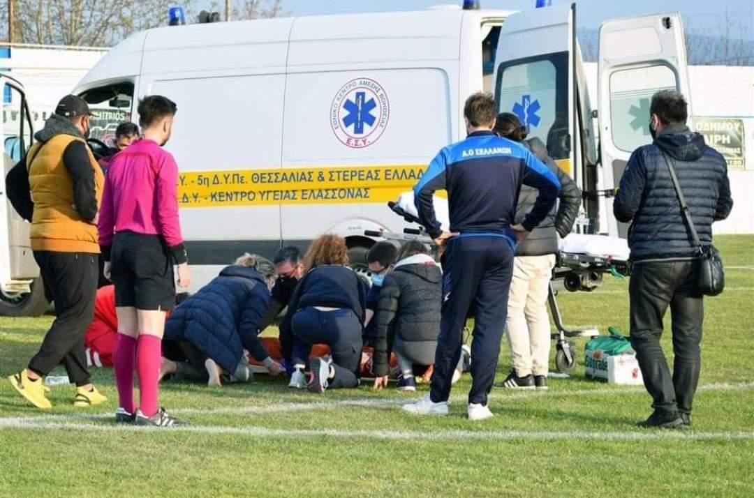 Γ Εθνική : Πάνω από 45′ (!)  το ασθενοφόρο για να παραλάβει τραυματία ποδοσφαιριστή! (photos+vid)